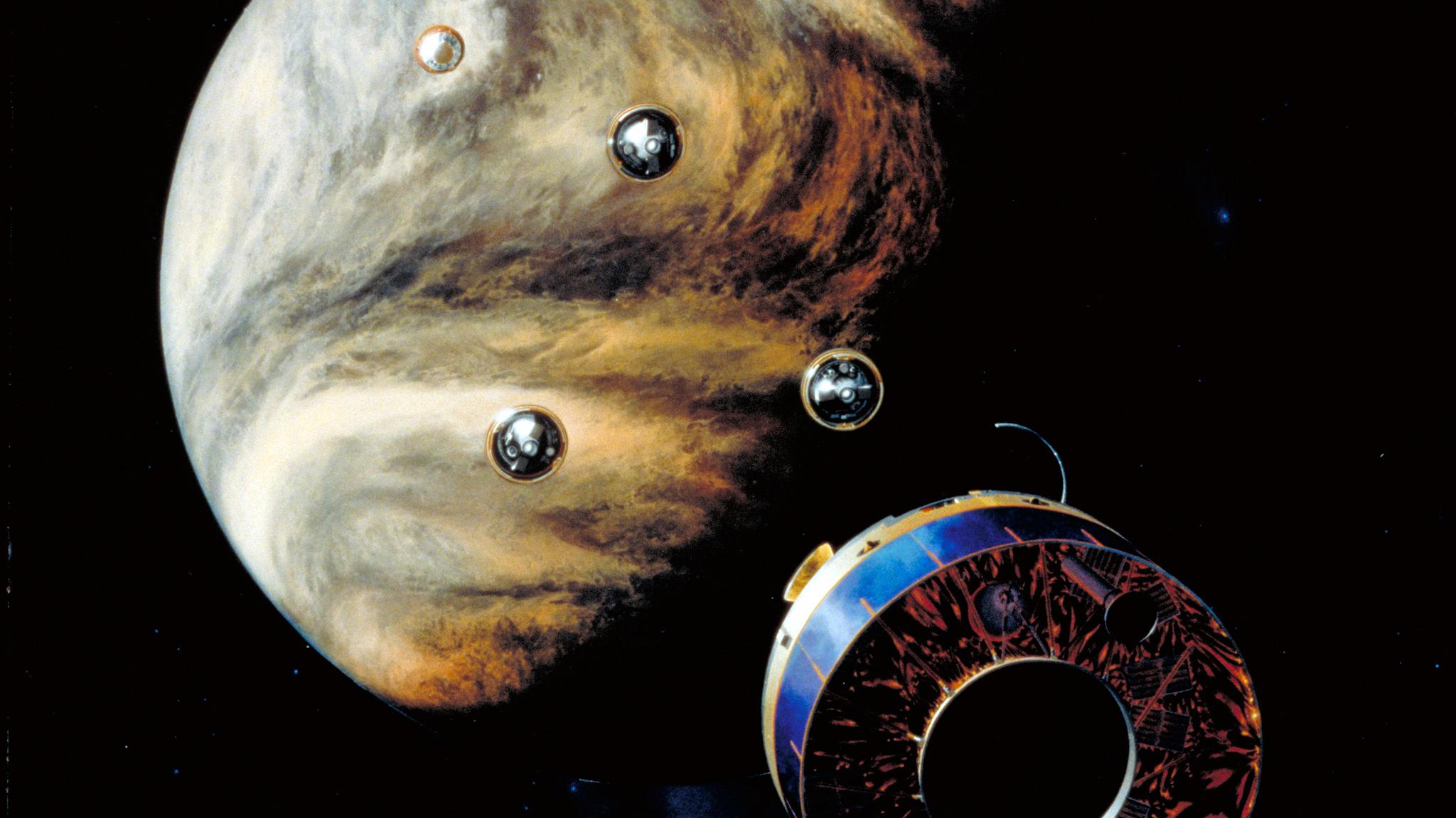 Une illustration de la NASA montre les sondes Pioneer-13 descendant vers les nuages de Vénus.