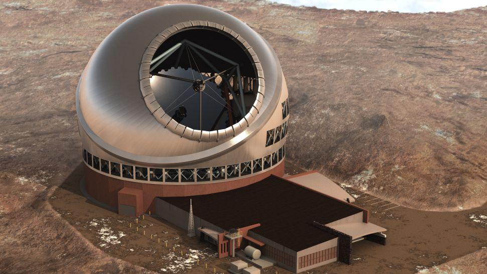 Illustration d'un artiste du télescope de trente mètres au sommet du pic volcanique de Maunakea à Hawaï.