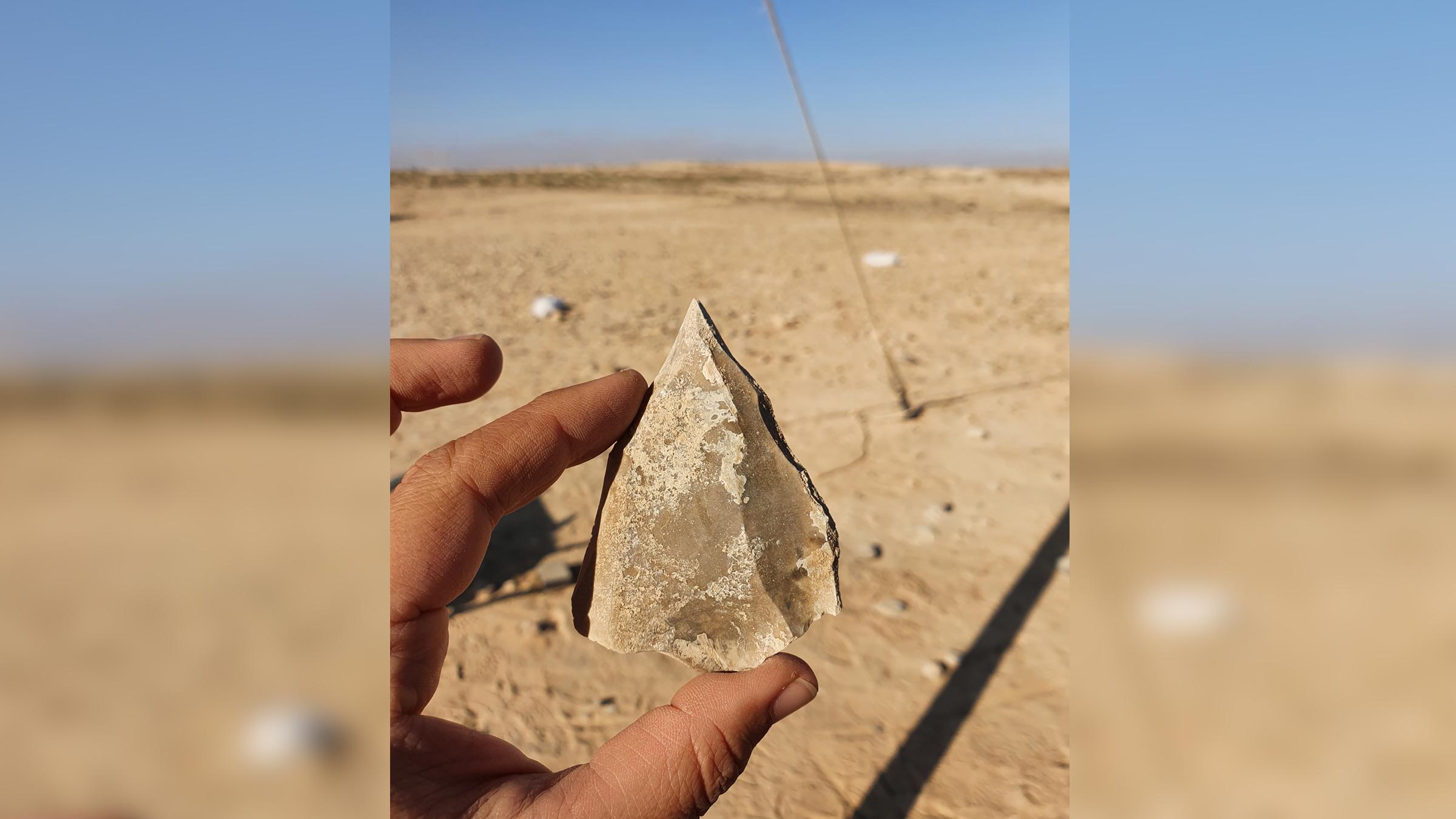 L'un des outils en pierre distinctifs, fabriqué avec une ancienne technologie de taille du silex connue sous le nom de Nubian Levallois, trouvé sur le site archéologique du désert du Néguev.
