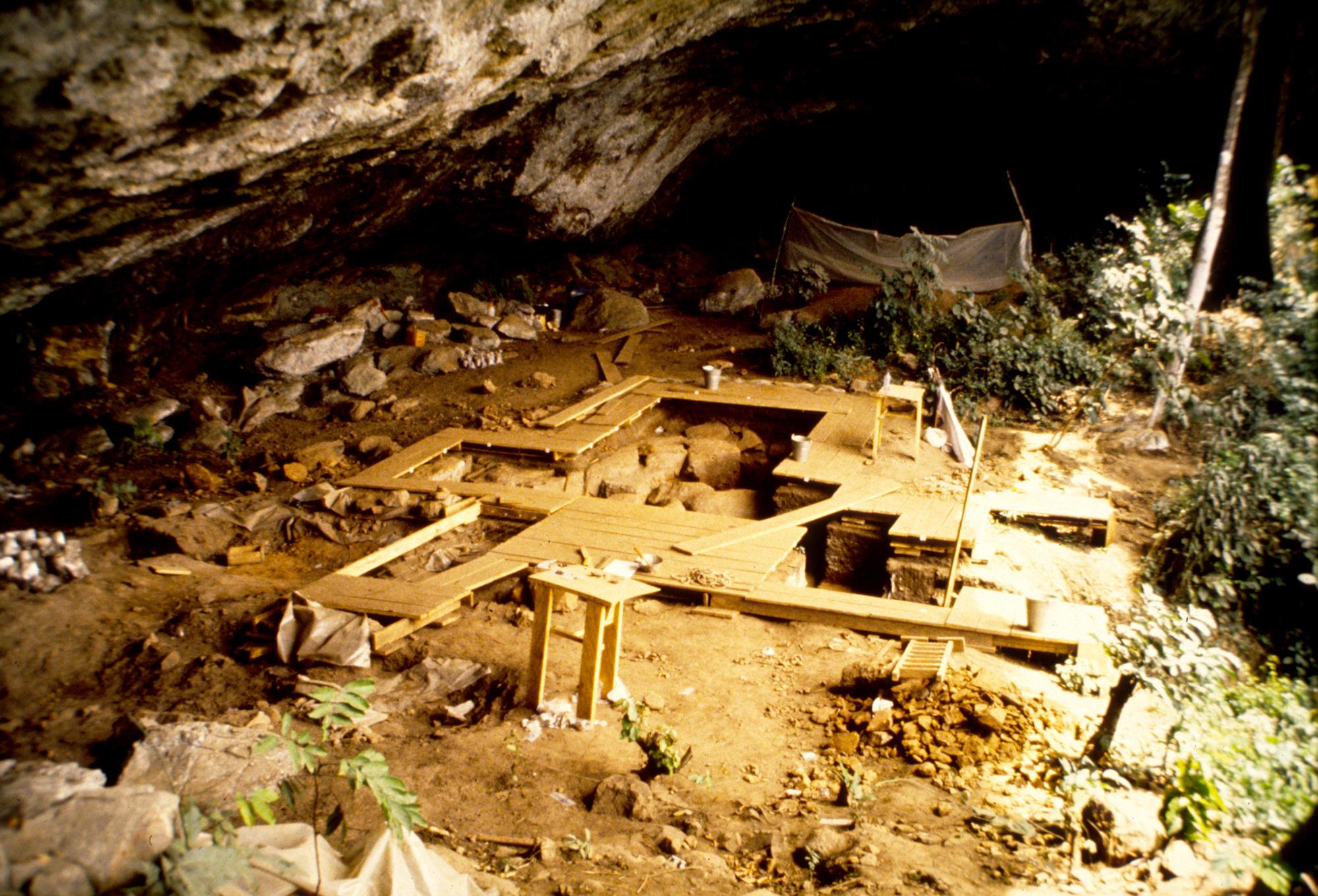L'abri sous roche de Shum Laka au Cameroun.  Étonnamment, les anciens habitants de cet abri sous roche ne sont pas liés aux habitants de la région aujourd'hui.