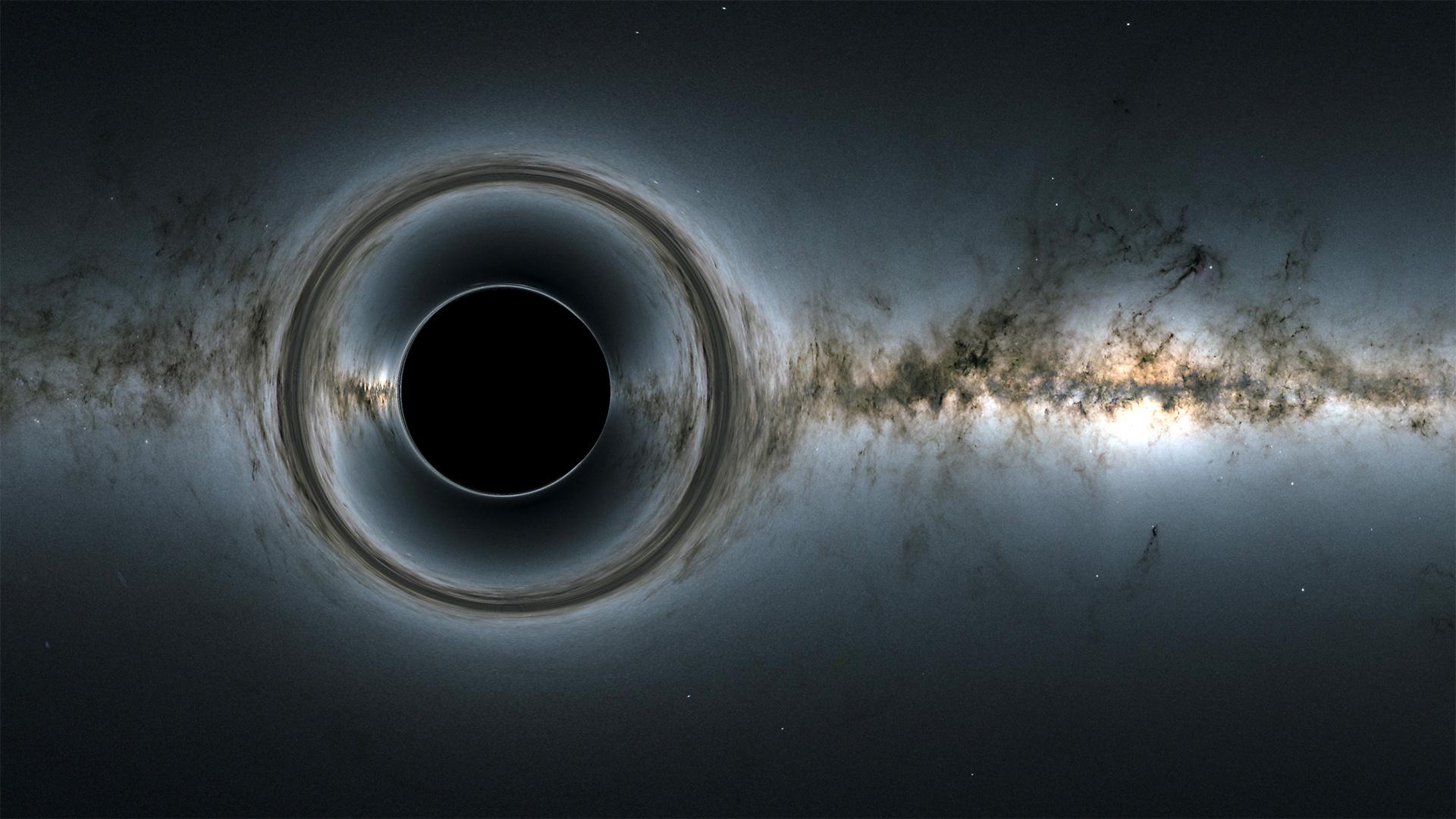 Une image simulée d'un trou noir.