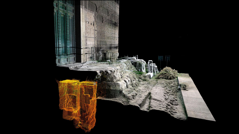 Une image de balayage laser 3D montrant l'emplacement de la tombe (en jaune) enterrée sous les marches de la Curia Julia, ou Sénat, dans le Forum romain.