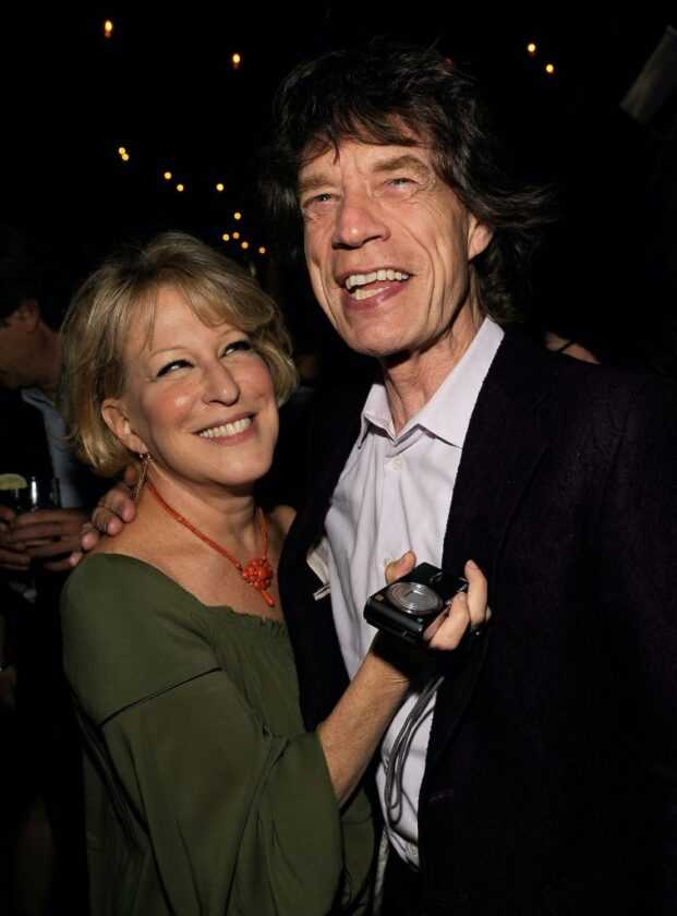 Bette Midler and Mick Jagger