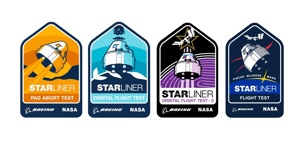 Correctifs de test en vol Starliner de Boeing: Pad Abort Test, 2019;  Test en vol orbital (OFT), 2019;  Test en vol orbital-2 (OFT-2), mars 2021;  et Test en vol avec équipage (CFT), été 2021.