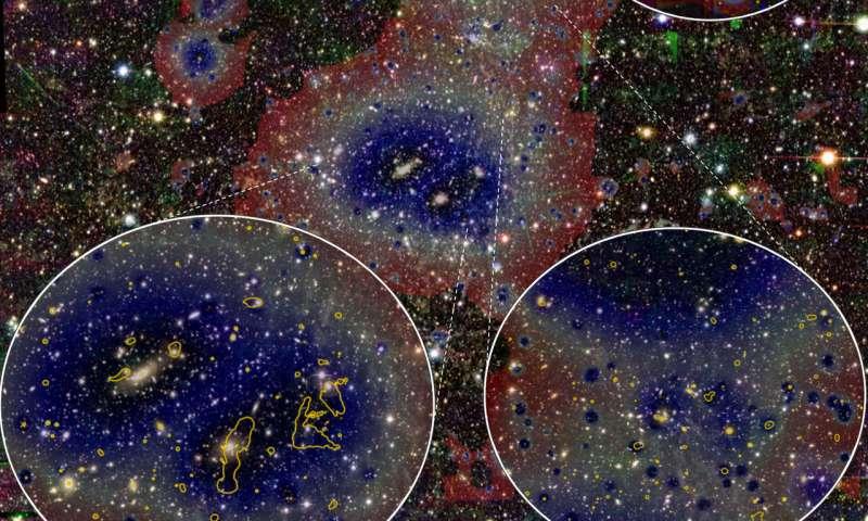 Une image optique du système Abell 3391/95 où les scientifiques ont repéré le plus long filament jamais observé.