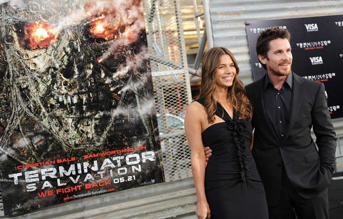 Sibi Blazic and Christian Bale arrive at the premiere of the Warner Bros. movie