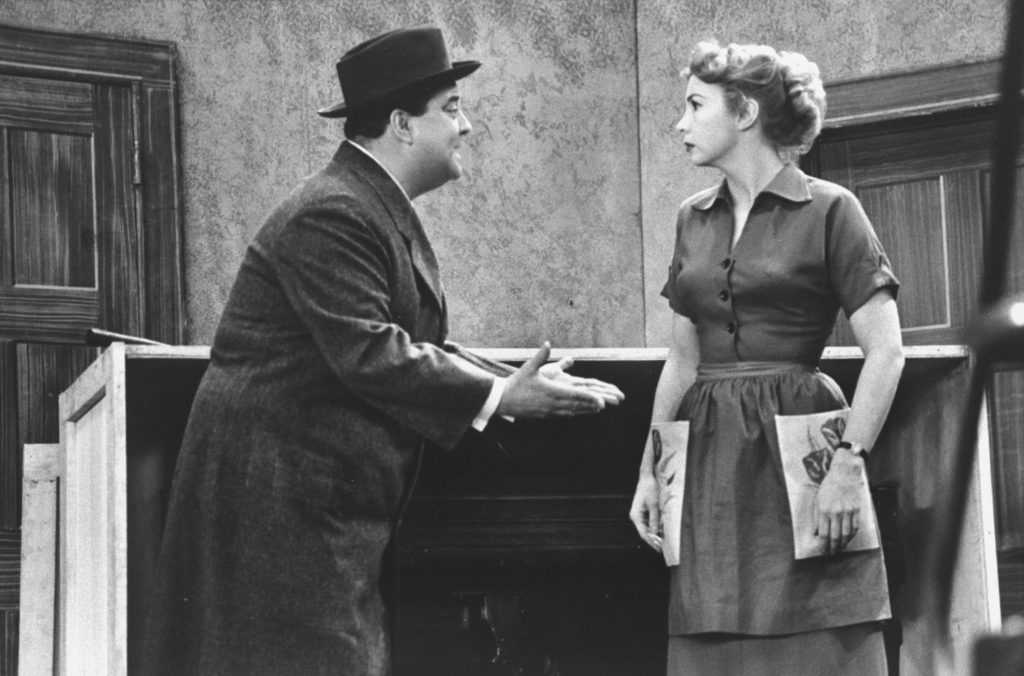Audrey Meadows and Jackie Gleason rehearsing for an episode of The Honeymooners.