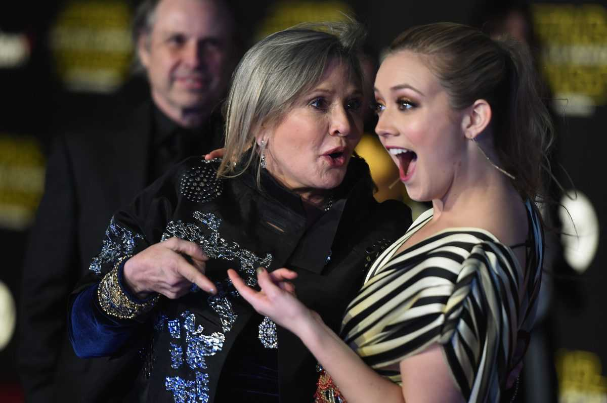 Actresses Carrie Fisher (L) and Billie Lourd attend the Premiere of Walt Disney Pictures and Lucasfilm