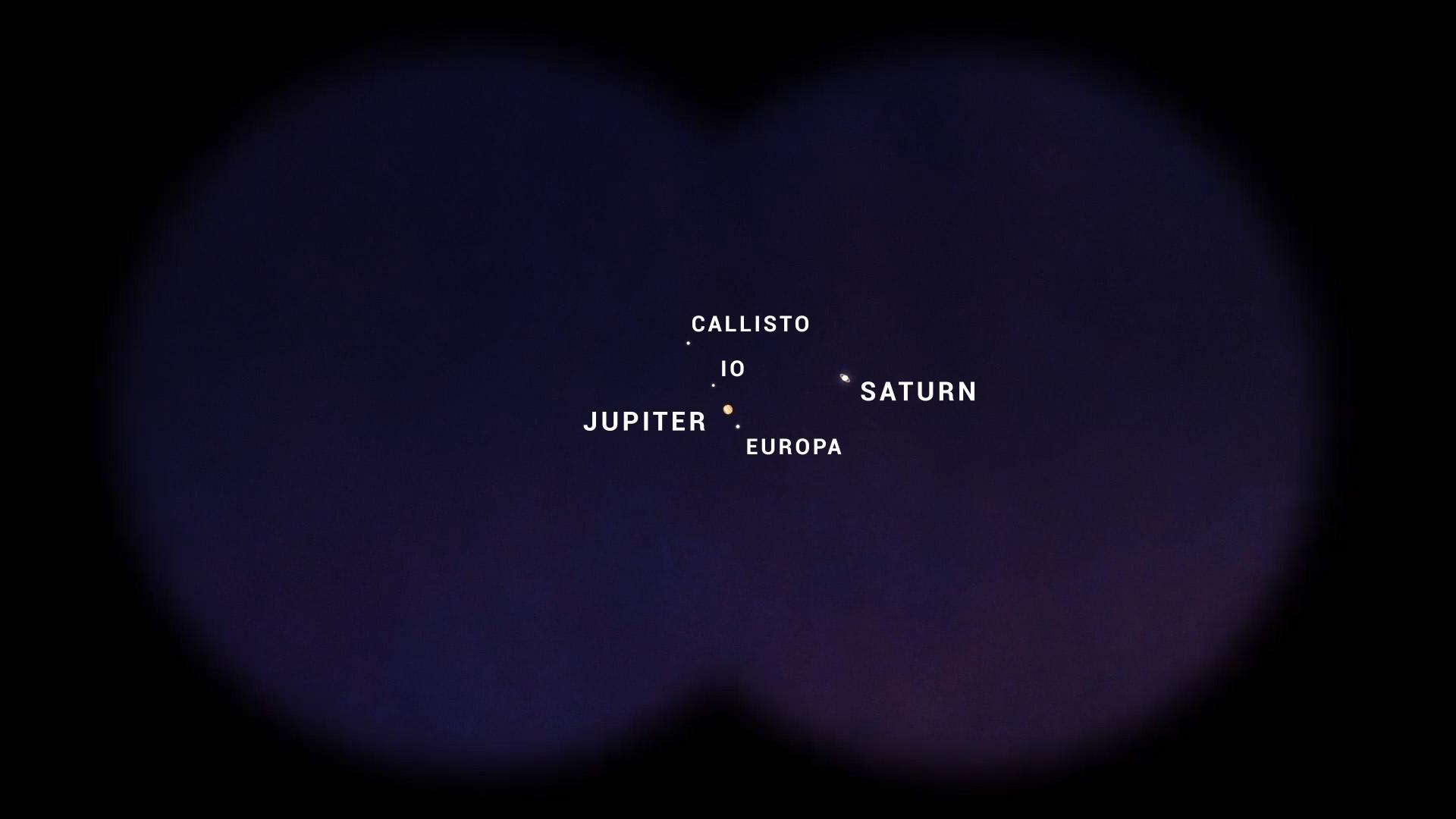 Dans cette illustration en gros plan, Jupiter et Saturne semblent assez confortables lorsqu'ils sont vus avec des jumelles.