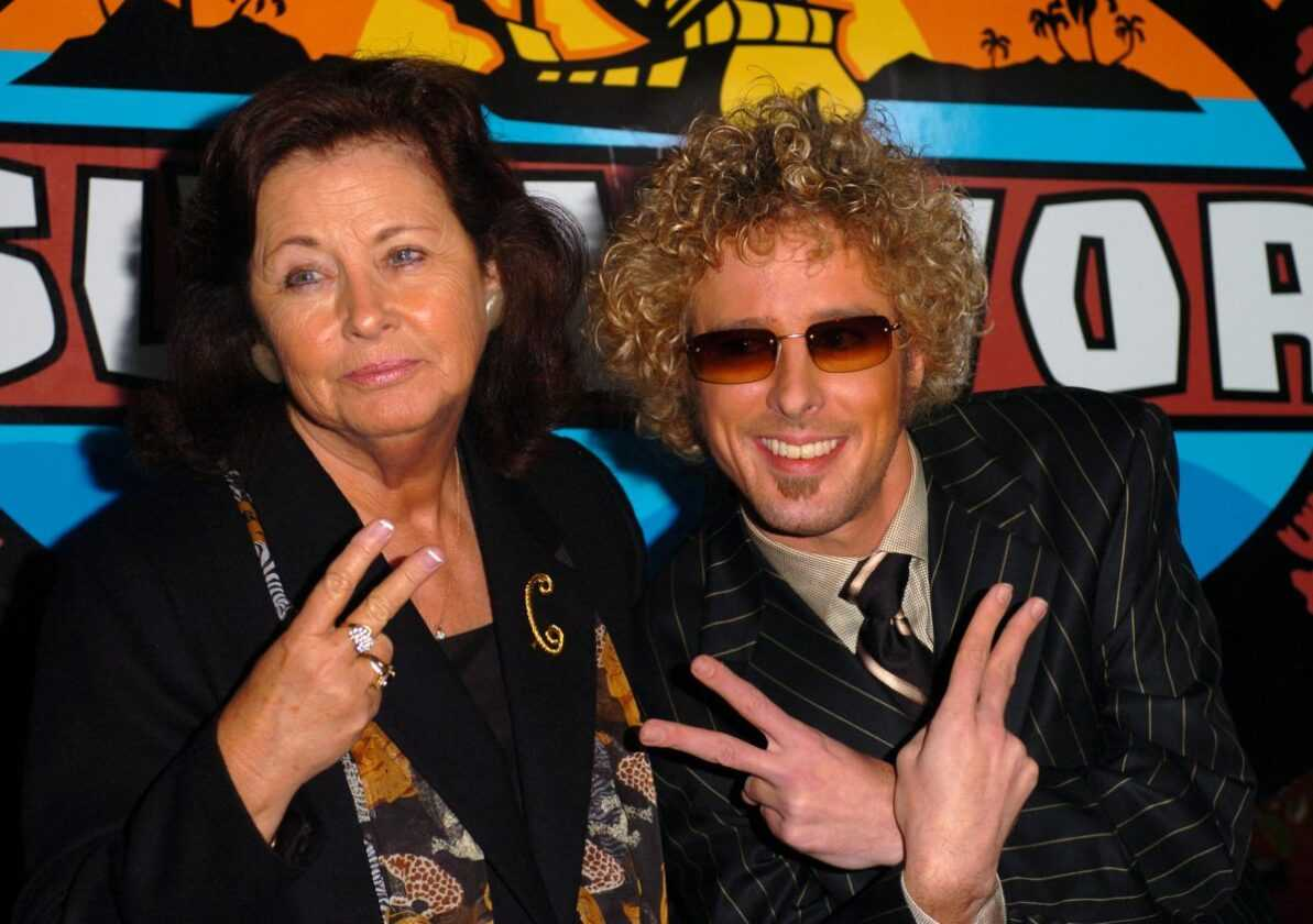 Jonny Fairplay (right) and grandmother Jean Cook at