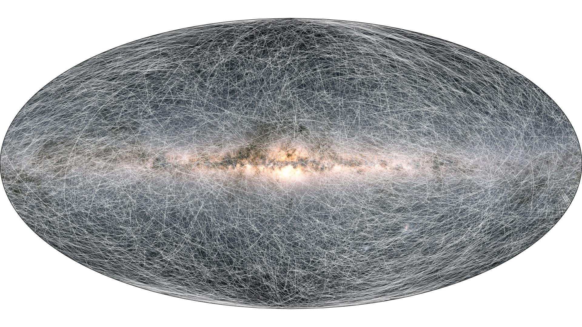 Cette image montre les trajectoires de 40 000 étoiles situées à moins de 326 années-lumière de notre système solaire au cours des 400 000 prochaines années, d'après les mesures et les projections du vaisseau spatial Gaia de l'Agence spatiale européenne.