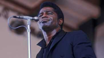 James Brown performing at the Newport Jazz Festival in 1968.