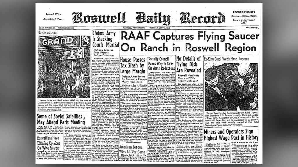 Le Roswell Daily Record du 9 juillet 1947 détaille l'incident de Roswell OVNI.