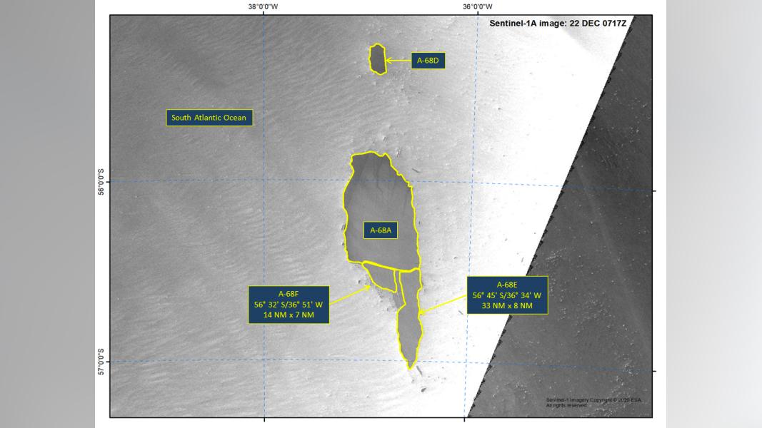 Image satellite Sentinel-1A de l'Iceberg A-68E et A-68F, le 22 décembre 2020.