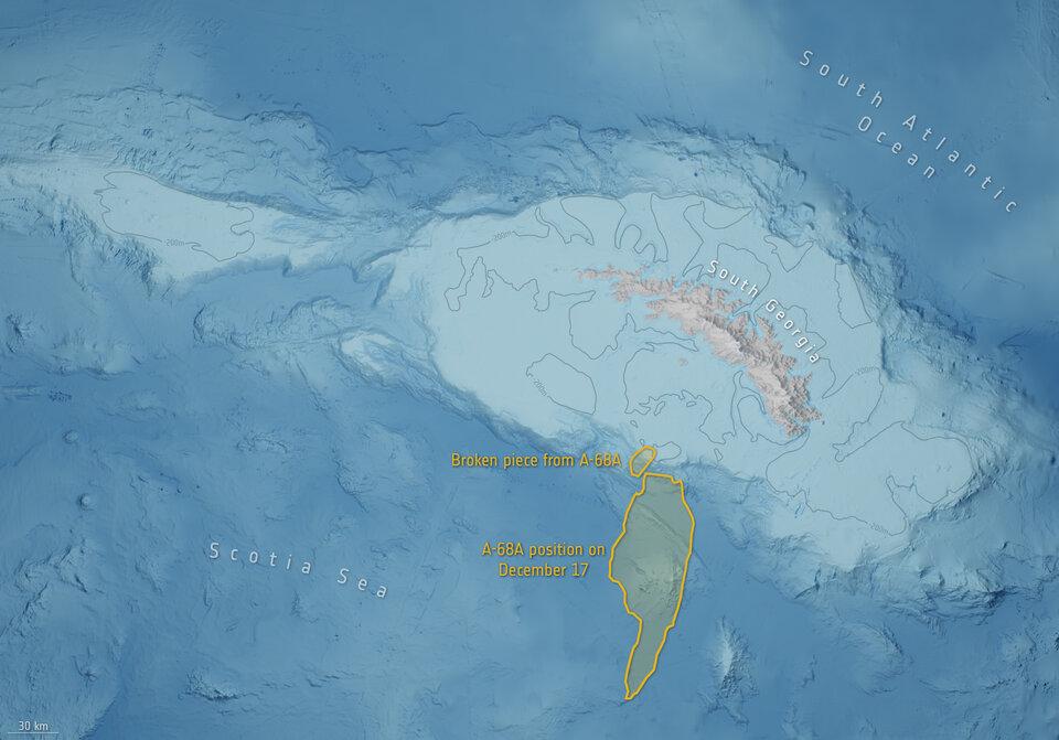 Une carte de contour montre le fond marin dans la région où l'A-68a s'est divisé et a tourné.