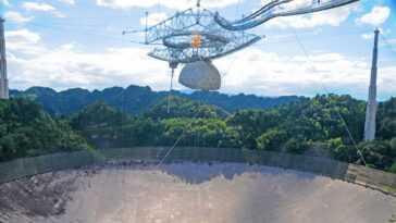 Le Télescope Délabré De L'observatoire Arecibo De Porto Rico S'effondre