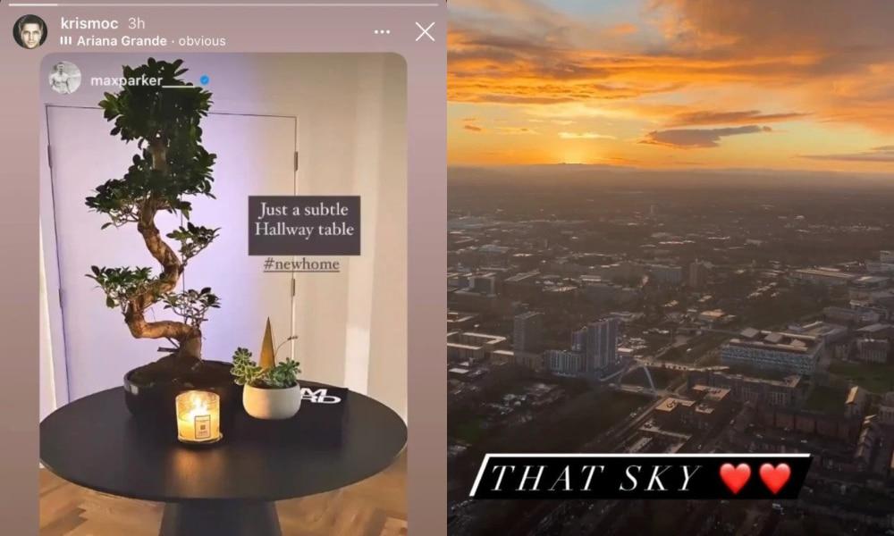 Une photographie d'une table de couloir avec une plante et des bougies dessus (L) et la vue de Manchester contre le coucher du soleil