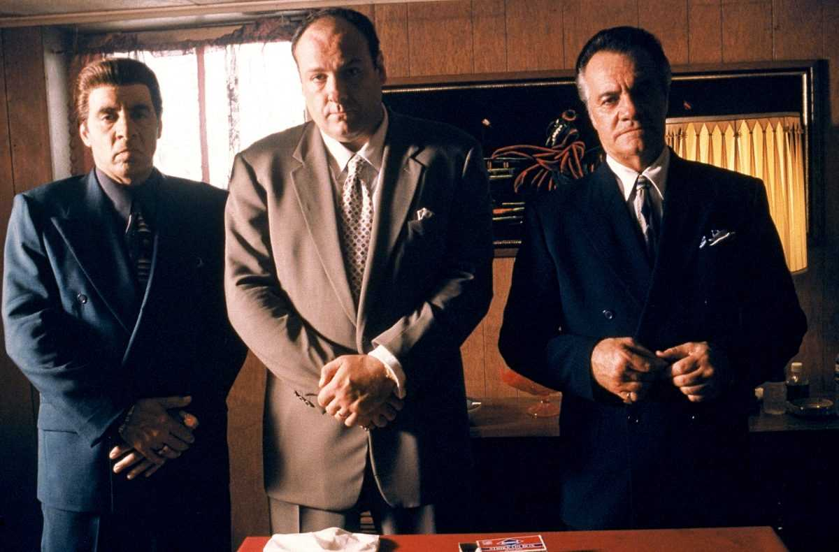 Steven Van Zandt as Silvio Dante, James Gandolfini as Tony Soprano, and Tony Sirico as Paulie Walnuts star in HBO