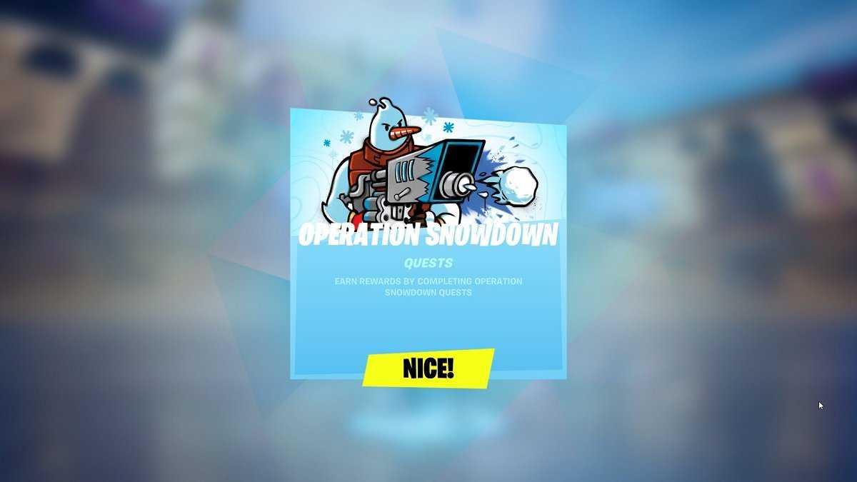 L'opération Snowdown A Commencé à Fortnite!