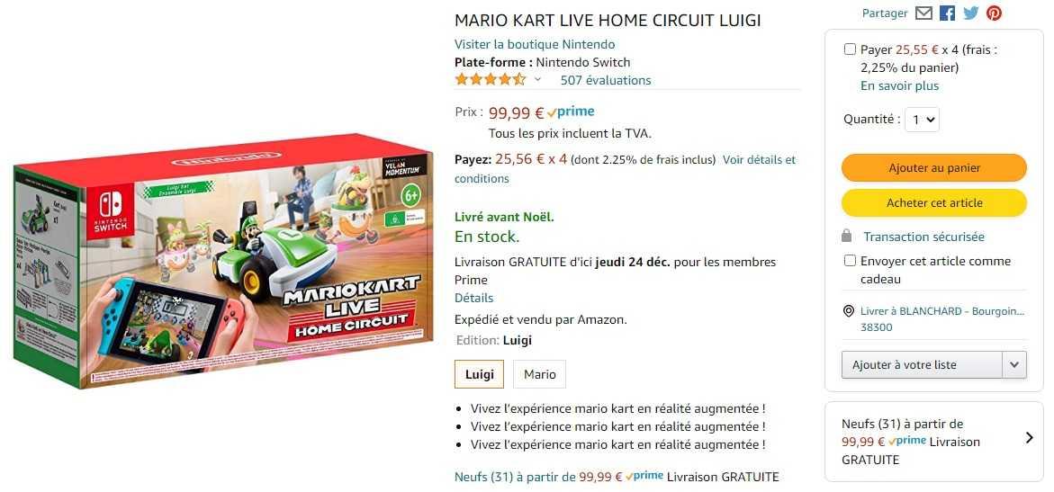 Mario Kart Live Home Circuit Luigi Est Disponible Et Livré Pour Noël (amazon)