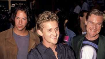 Keanu Reeves, Alex Winter, and William Sadler during Bill & Ted