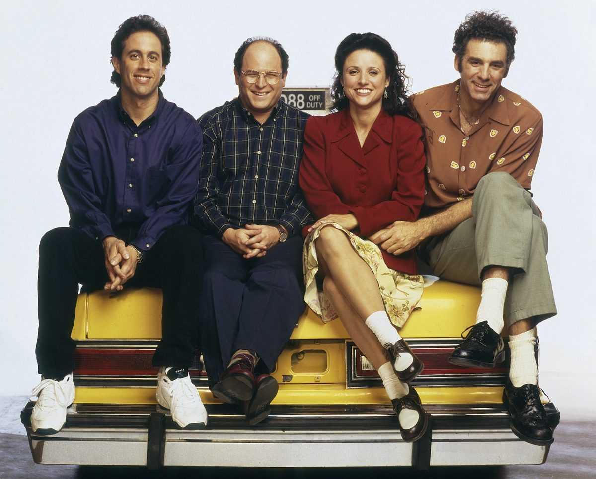 Jerry Seinfeld, Jason Alexander, Julia Louis-Dreyfus et Michael Richards