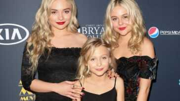 (L-R) Natalie Alyn Lind, Alyvia Alyn Lind and Emily Alyn Lind smiling in front of a black background
