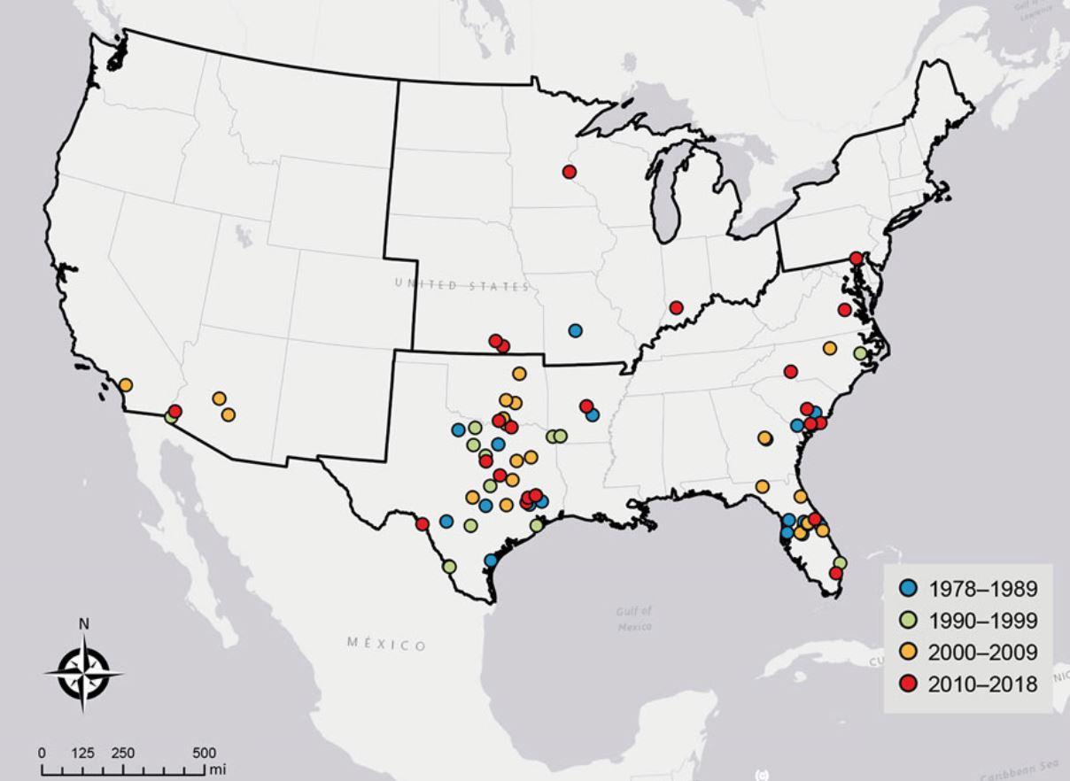 Une carte montrant les cas d'infections à Naegleria fowleri liées à l'eau récréative aux États-Unis de 1978 à 2018.