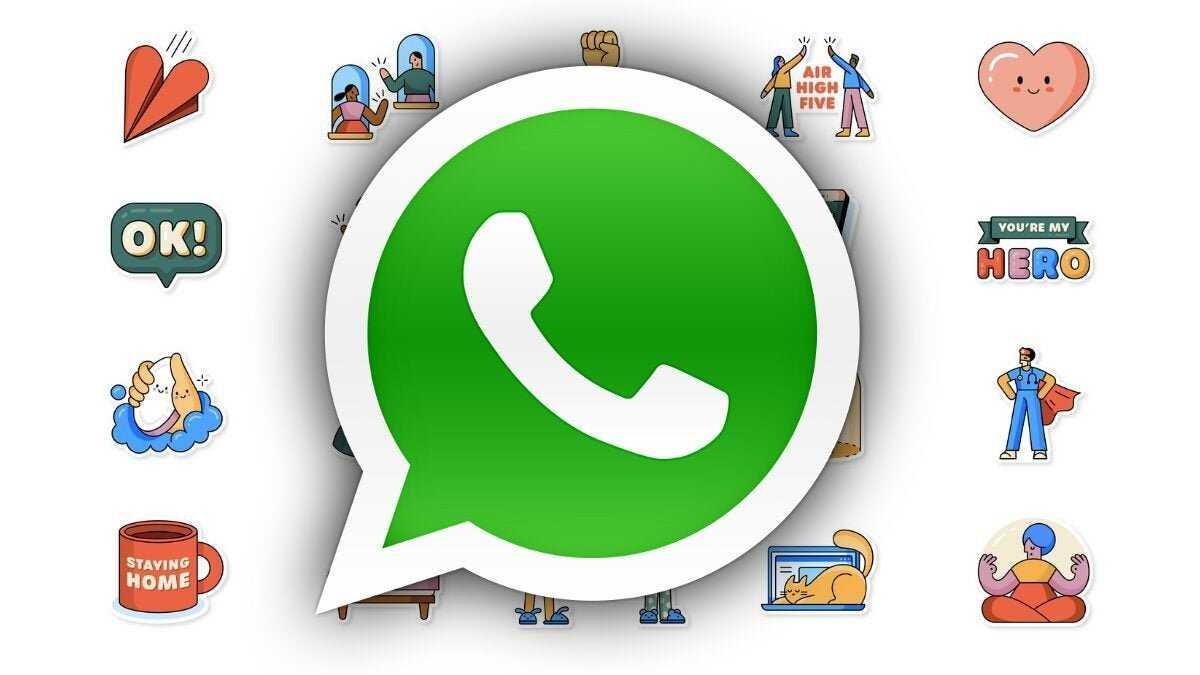 Autocollants WhatsApp à côté du logo WhatsApp