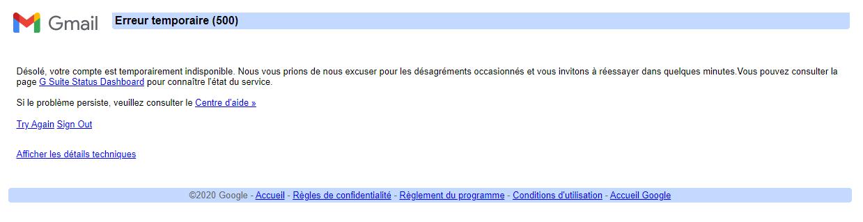 Erreur 500 Gmail