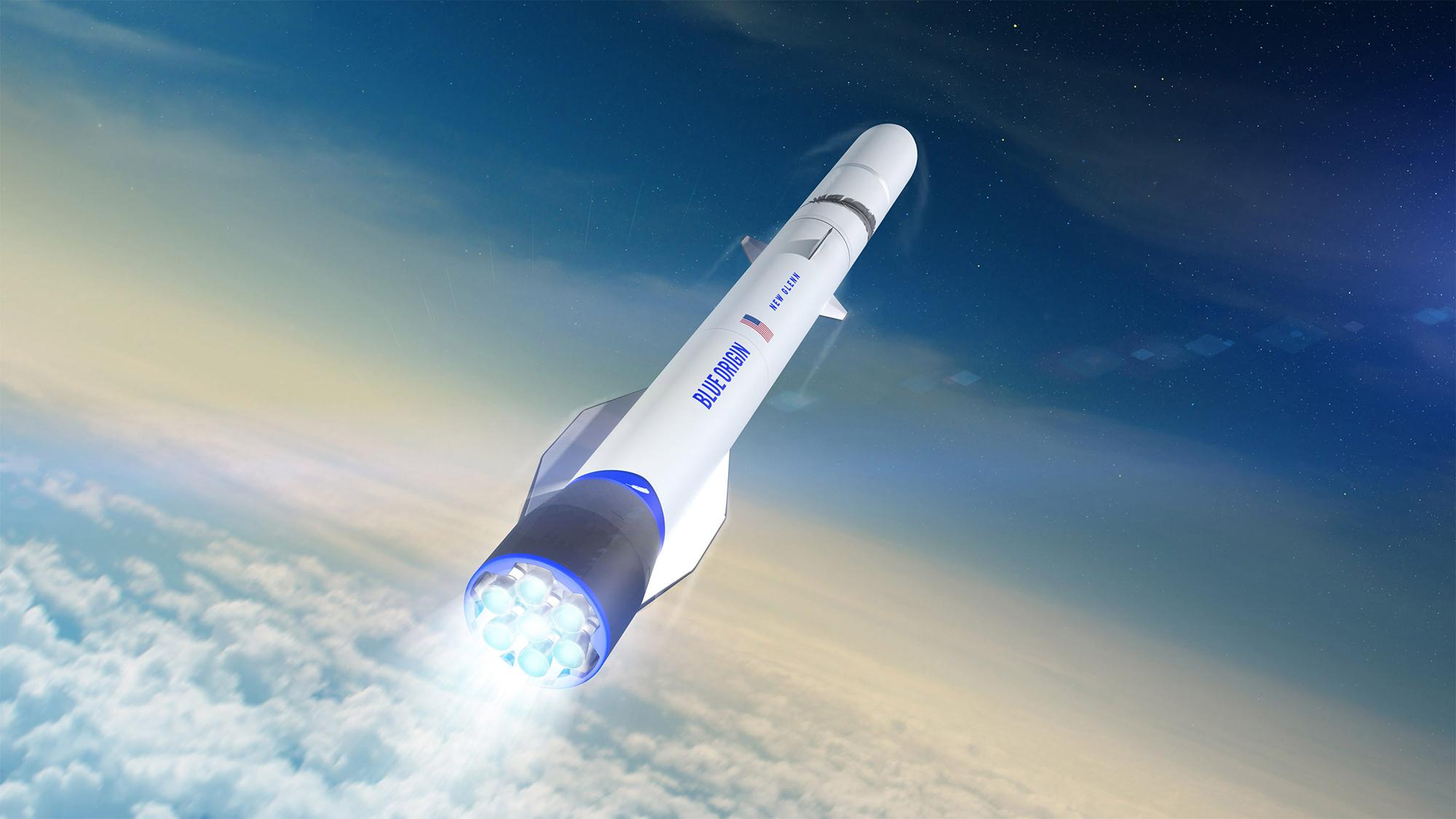 Illustration d'un artiste de la fusée New Glenn de Blue Origin en vol.