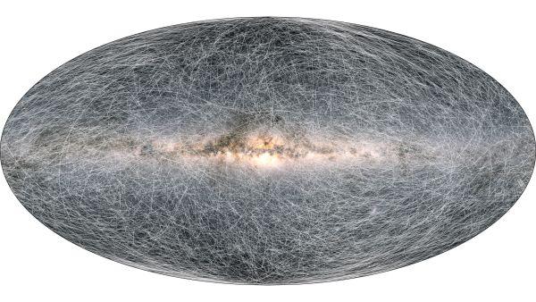 Cette image montre les trajectoires de 40 000 étoiles situées à moins de 326 années-lumière de notre système solaire au cours des 400 000 prochaines années, d'après des mesures et des projections du vaisseau spatial Gaia de l'Agence spatiale européenne.
