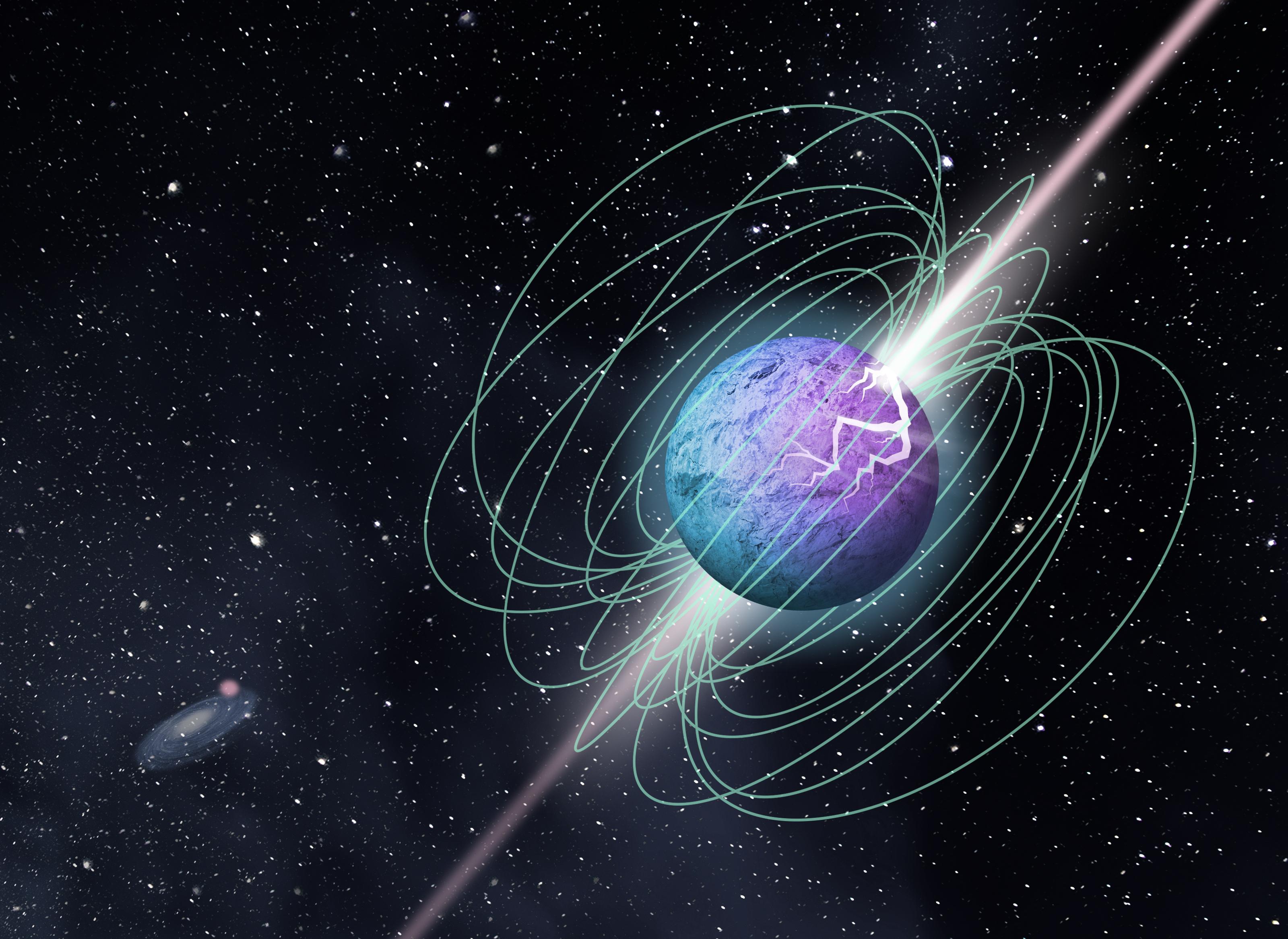 Une illustration d'un magnétar - le cadavre hautement magnétisé d'une étoile effondrée - débordant d'énergie.  Les scientifiques pensent qu'ils pourraient être responsables des sursauts radio rapides (FRB)