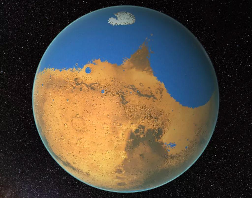 Représentation d'artiste de Mars recouverte d'eau, comme cela pouvait être il y a environ 4 milliards d'années.