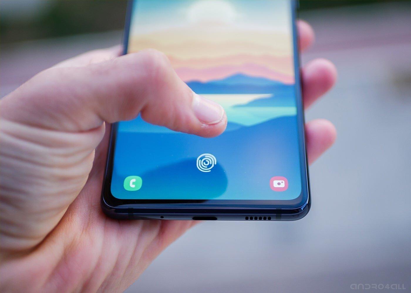 Lecteur d'empreintes digitales sur l'écran du Samsung Galaxy S20 FE