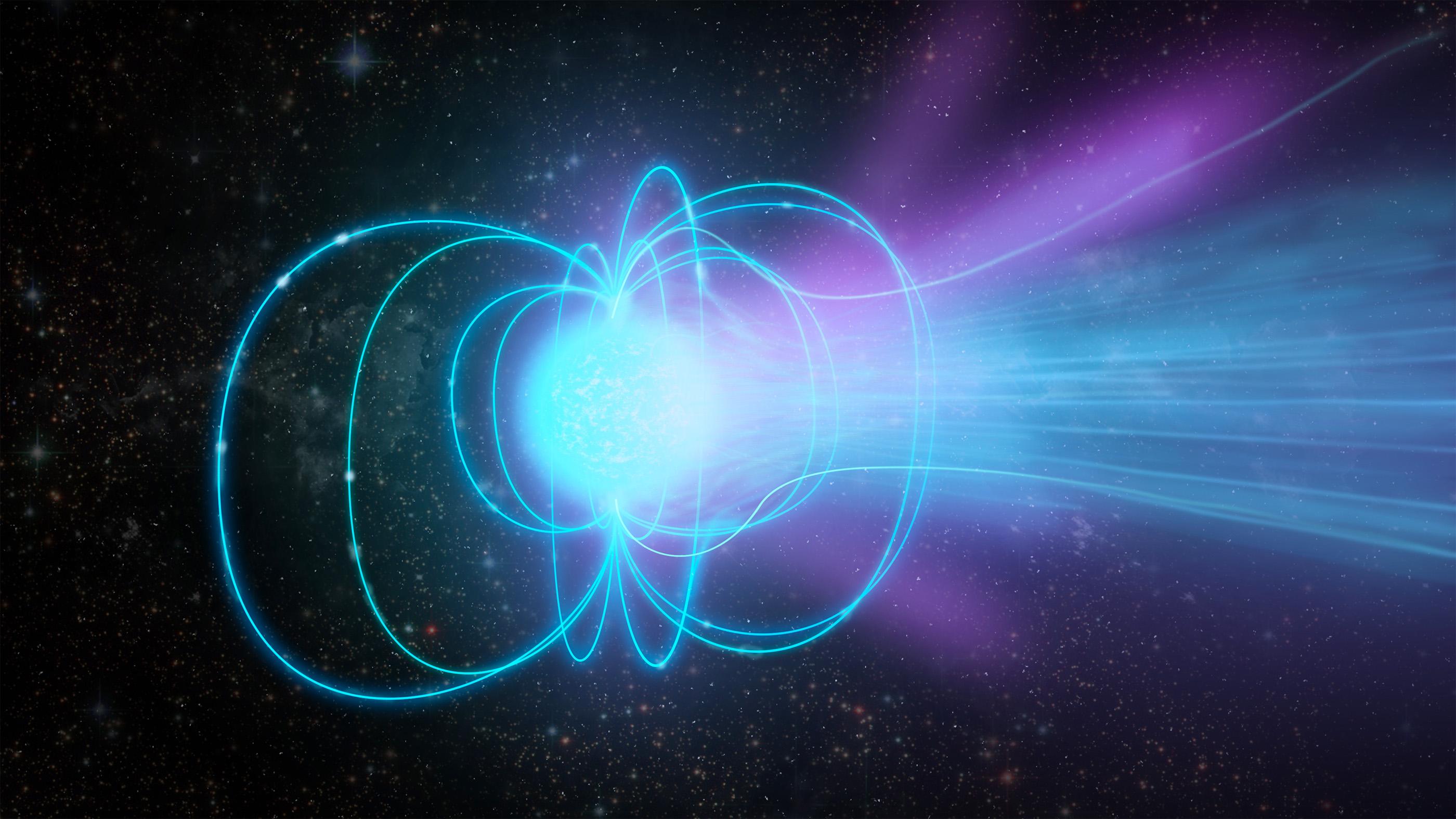 Un magnétar est une étoile à neutrons superdense avec un champ magnétique extrêmement puissant.  Dans cette illustration, le magnétar émet une rafale de rayonnement.