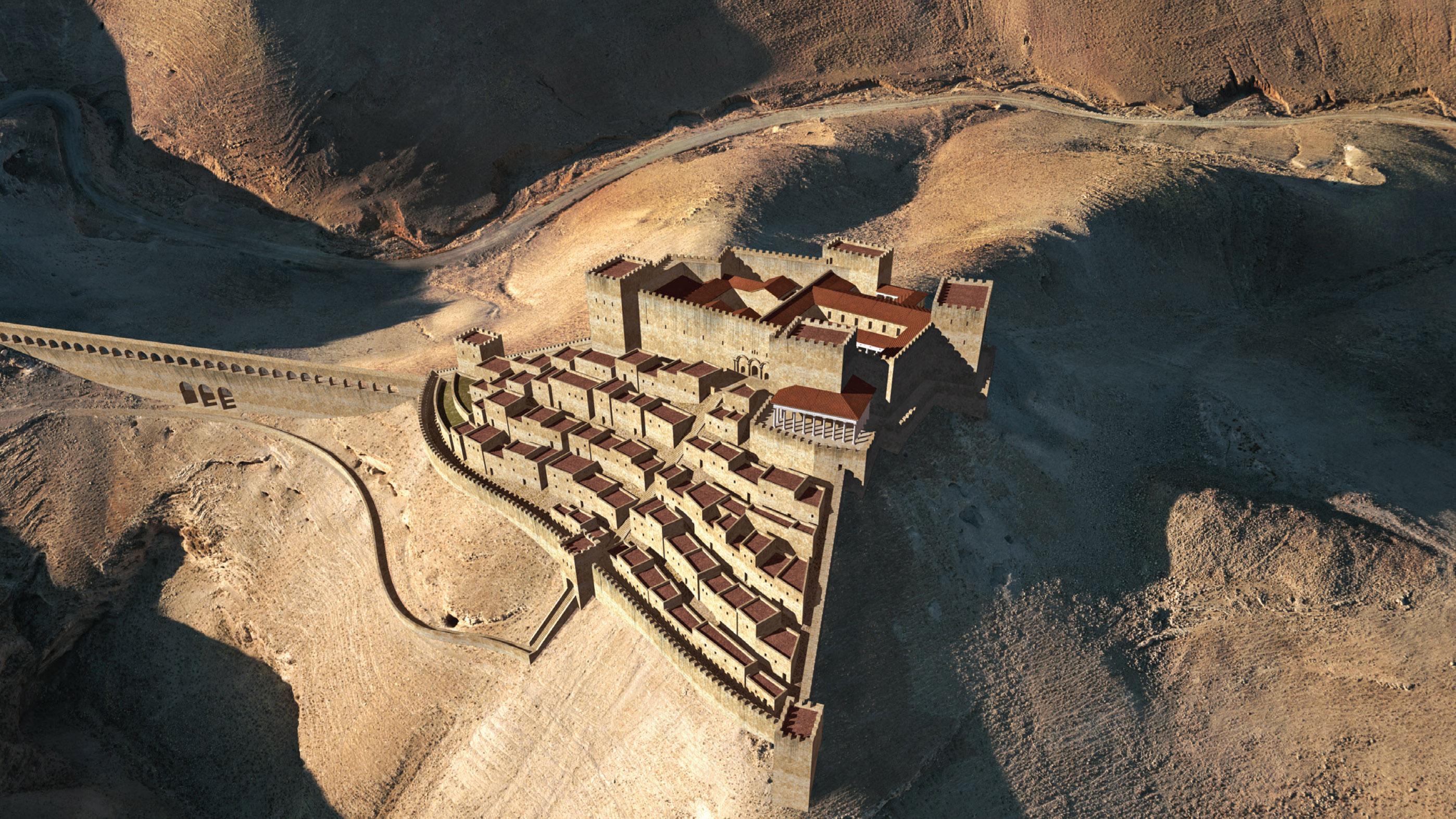 Ici, une reconstruction de la citadelle supérieure de Machaerus.