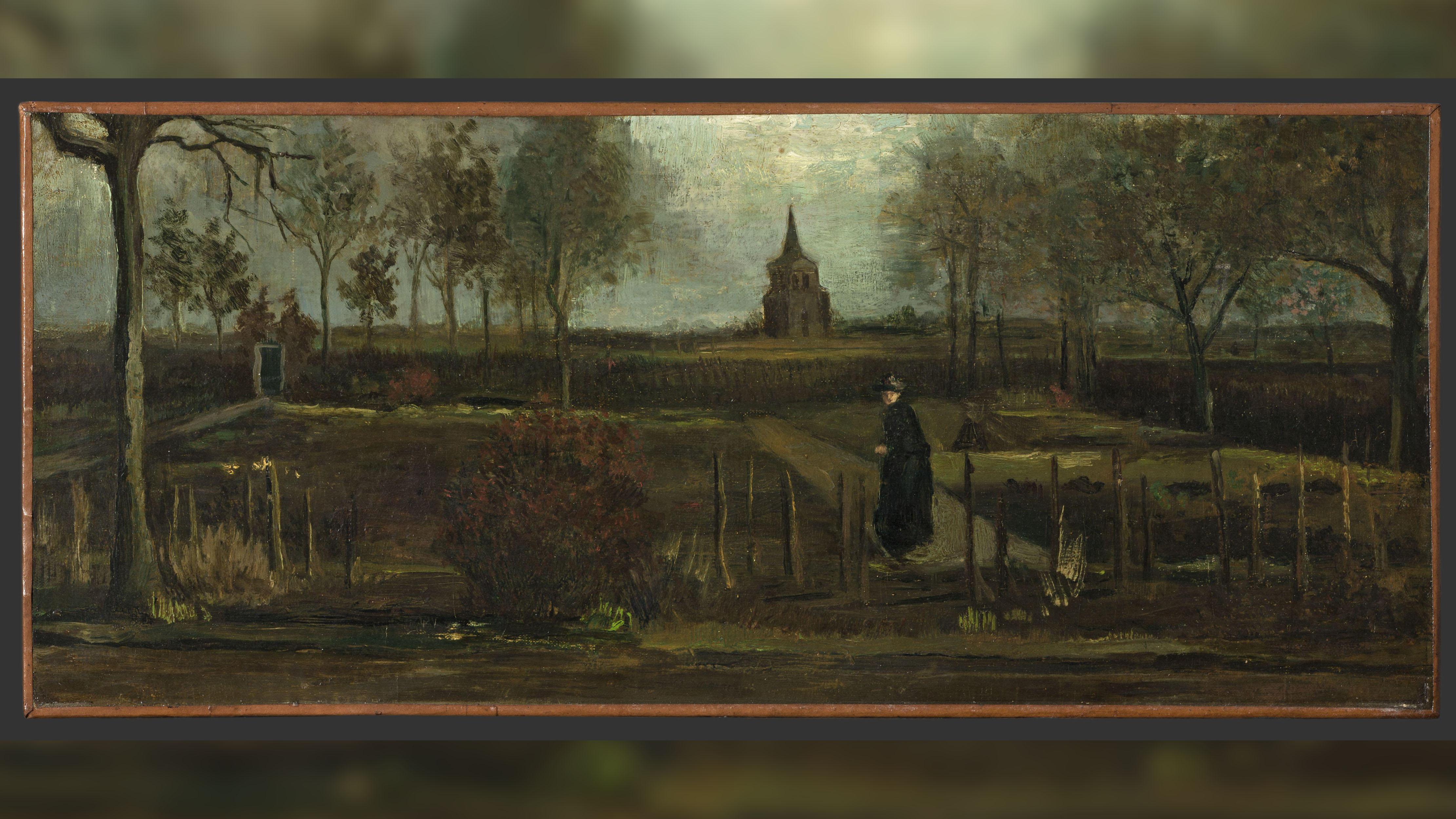 En mars 2020, au cours de cette peinture de Van Gogh a été volée dans un musée néerlandais lors d'un verrouillage de Covid-19.  Vincent van Gogh, The Parsonage Garden at Nuenen in Spring, 1884, Groninger Museum, prêt de la municipalité de Groningen.