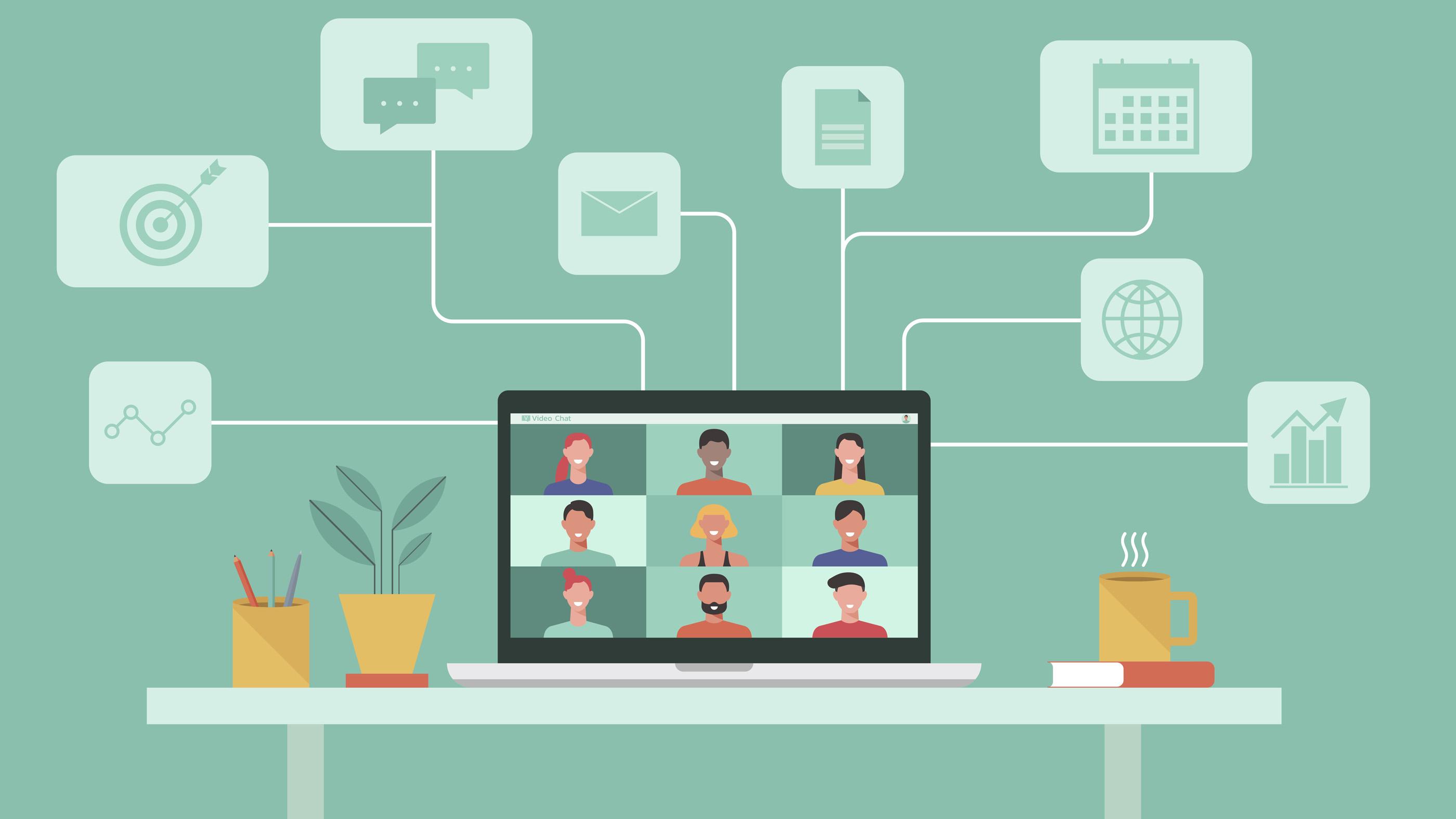 illustration d & # 39; une conférence virtuelle sur un ordinateur