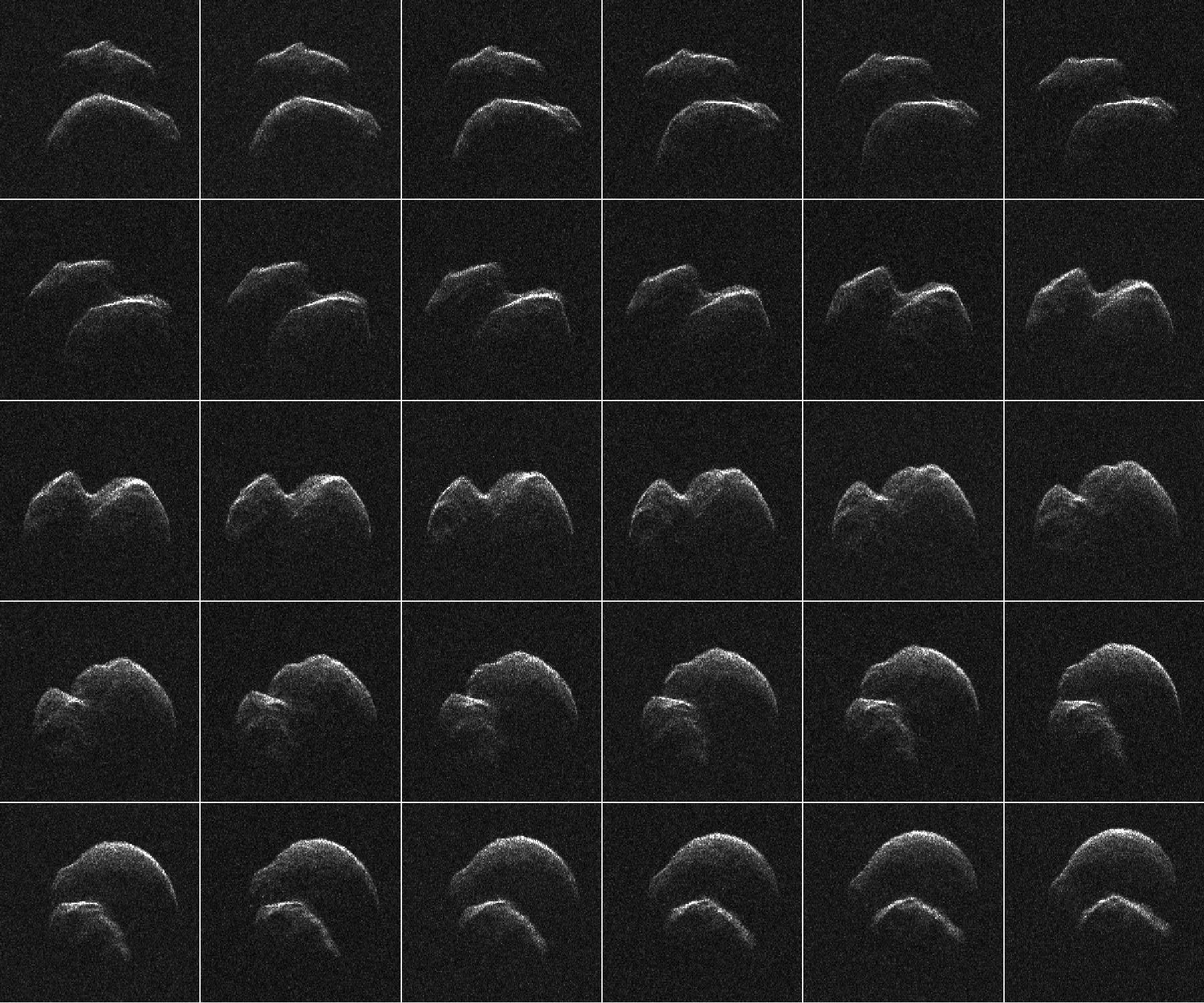 Imagerie de l'astéroïde JO25 2014, générée avec des données radar collectées à l'aide du radar du système solaire Goldstone de la NASA dans le désert de Mojave en Californie.