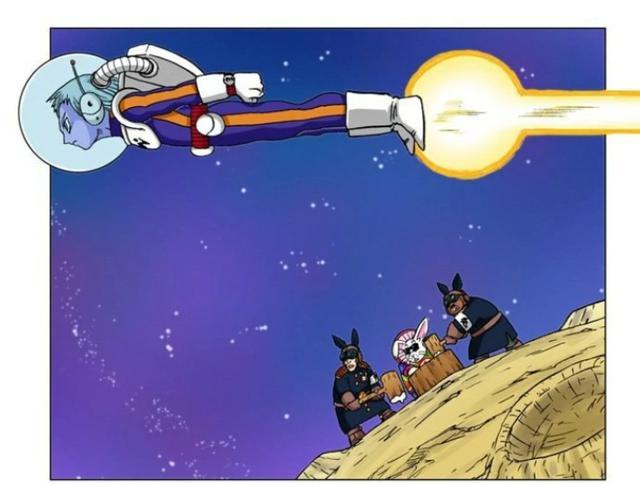 Merus vole près de la Lune et rencontre le chef des lapins et ses sbires (Photo: Sueisha)
