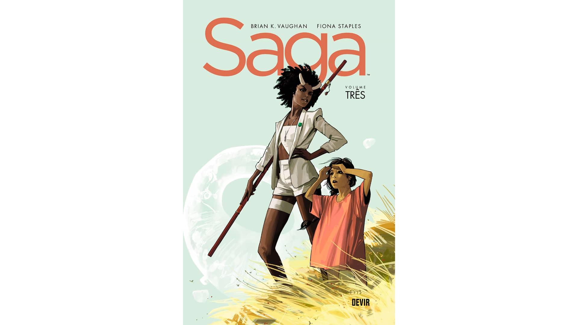 Le tome 3 de Saga montre la première partie du plan de la famille d'Alana, Marko et Hazel, alors qu'ils arrivent sur la planète, patrie de l'écrivain du livre qui les a inspirés.