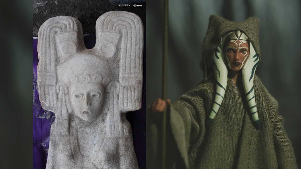 Une Statue De Femme Mystérieuse Avec Une Coiffe Semblable à