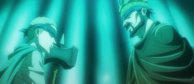 La famille Tybur, possesseurs du Titan Warhammer, a fait alliance avec le roi Fritz (Photo: Studio Mappa)