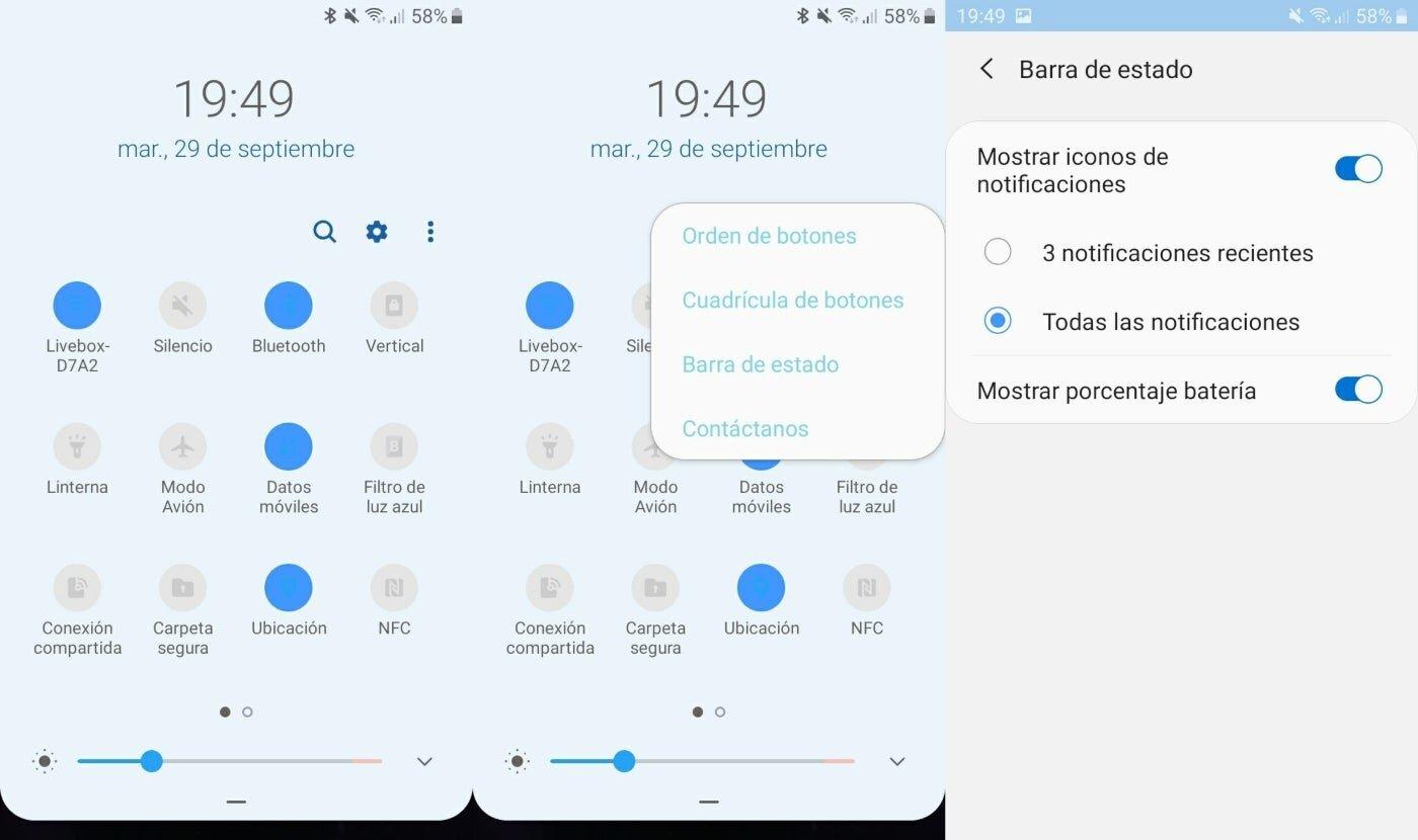 Barre d'état de notification Samsung
