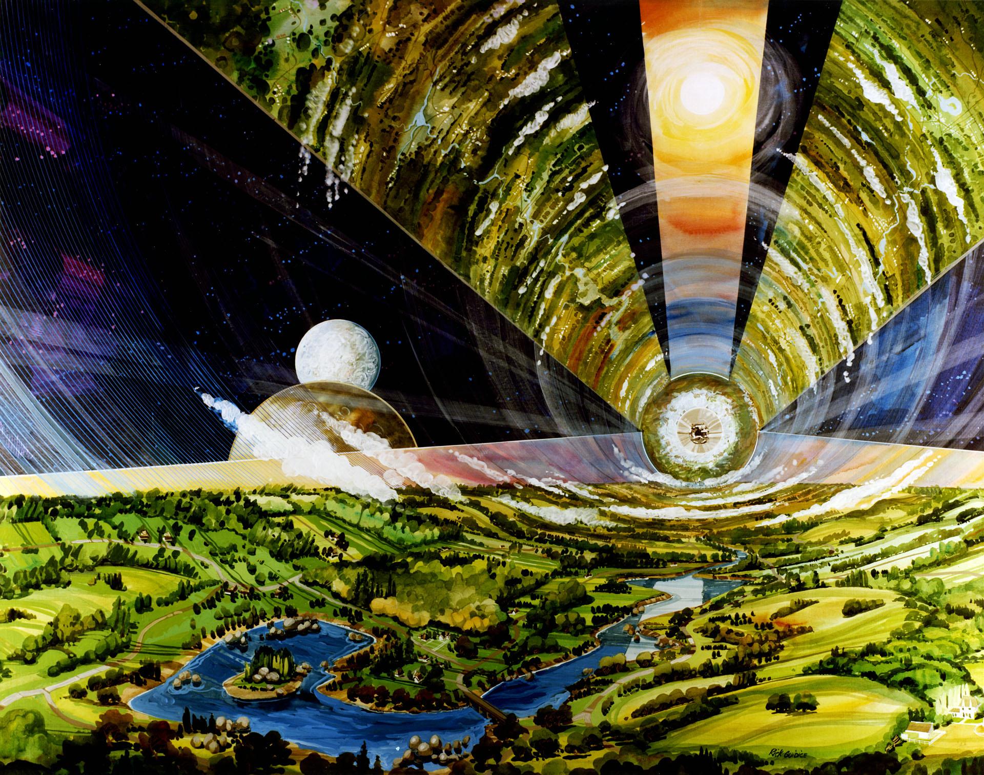 Cette illustration de la NASA montre à quoi pourrait ressembler l'intérieur d'un cylindre O'Neill.  Chaque habitat aurait une atmosphère artificielle, une gravité semblable à la Terre et un mélange d'espaces urbains et agricoles.