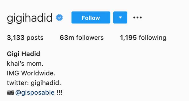 Biographie Instagram de Gigi Hadid