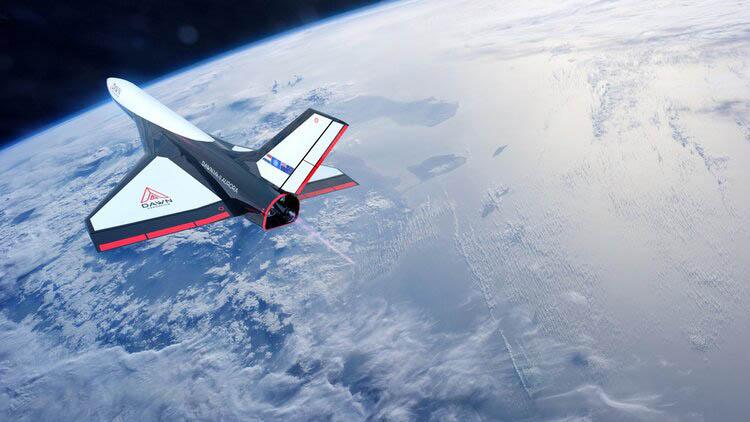 Vue d'artiste de l'avion spatial Mk-II Aurora de Dawn Aerospace.