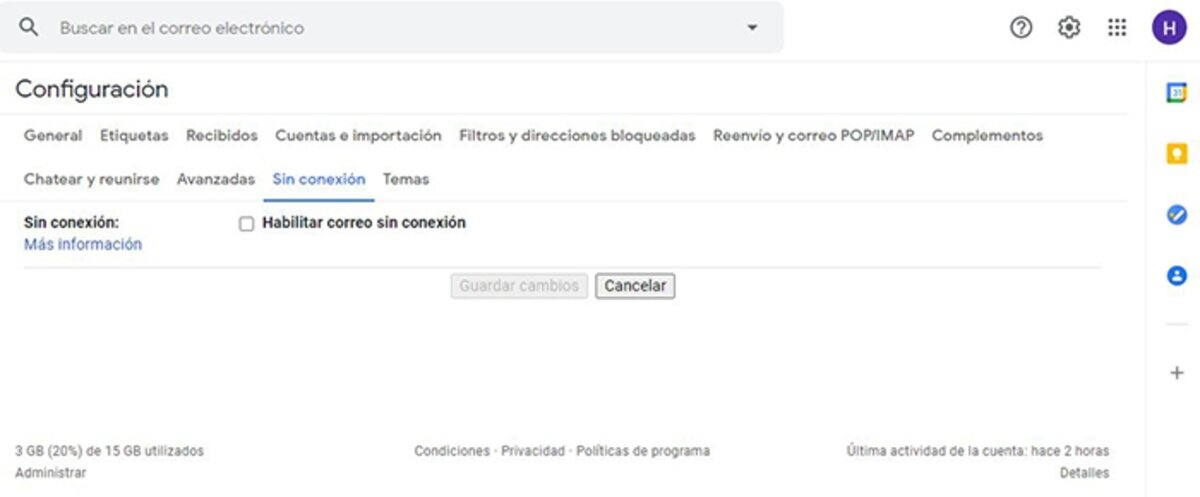 gmail hors ligne