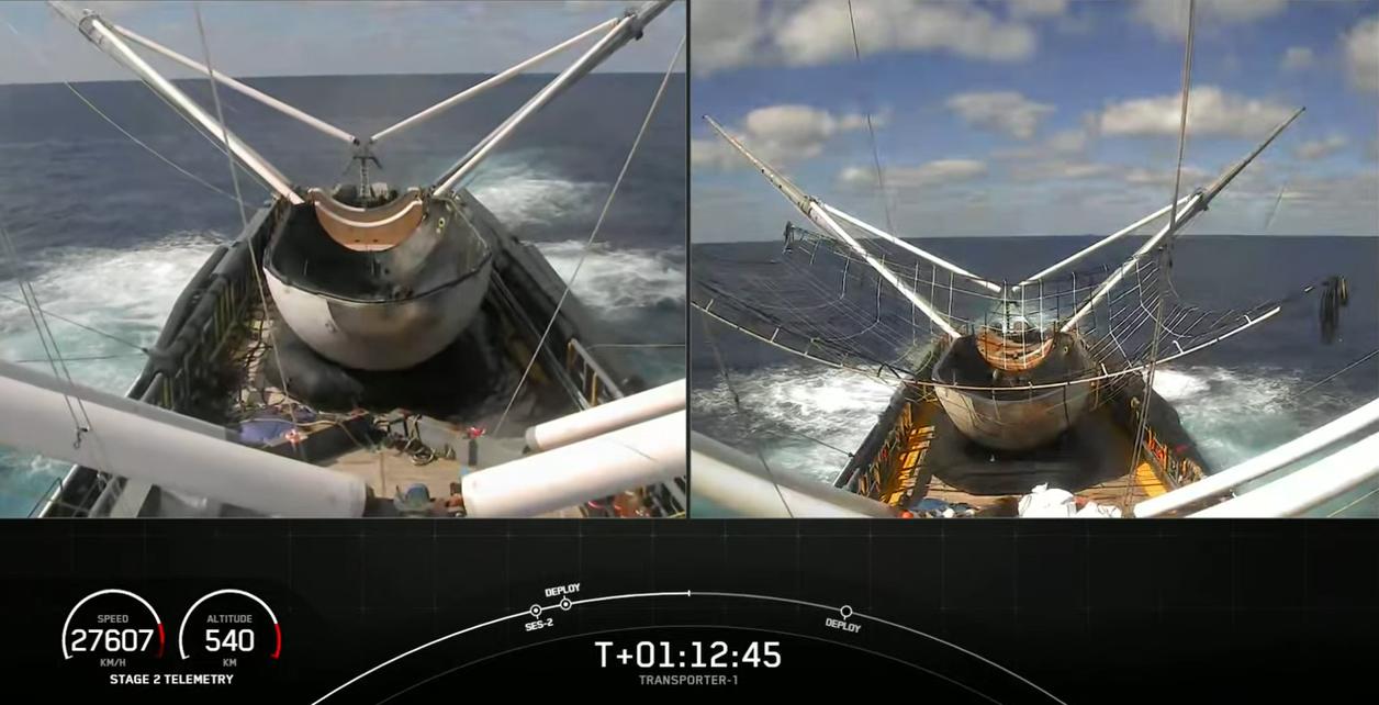 Les deux navires de récupération de carénage de charge utile de fusée de SpaceX GO Ms. Tree et GO Ms. Chief ont récupéré avec succès les moitiés de cône de nez du propulseur Transporter-1 Falcon 9 lors d'un lancement le 24 janvier 2021.
